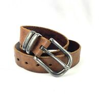 Vintage Size 34 Men's Belt Brown Genuine Leather Silver Plate Buckle Made In USA
