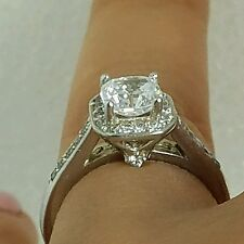 1.25 carat 14k real White Gold square cushion Cut Engagement Wedding Ring S 6.5