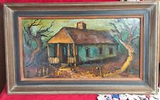Vintage Original Signed JMurphy Painting Framed Expressionist Swamp Homestead