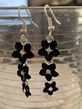 Hawaiian Black Cz Triple Plumeria Flower Earring French Hook Hawaii Jewelry