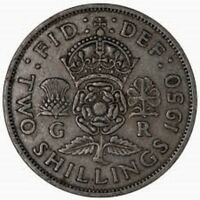 1950 BRITISH 2 SHILLING/FLORIN COIN - Crowned Rose / King George VI 👑  RARE