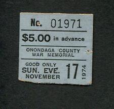 Original 1974 Zz Top concert ticket stub Syracuse Ny Tres Hombres