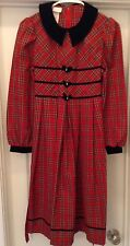 Girls Bonnie Jean Red Checkered  Long Sleeve Dress Size 14