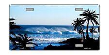 Ocean Wave Beach Seashore Palm Trees License Plate Sign Tag Tropical Island