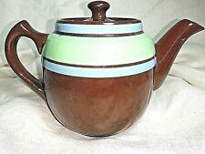 SADLER Staffordshire Personal Brown Betty Teapot + Pale Green & Blue England