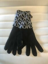 Michael Kors Knit Gloves MK Signature Logo Print Black Gray MSRP $42 NEW