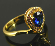 Zirconia Uk Size T½ Us Size 10 Gold Plated Ring Sapphire Blue And Clear Cubic