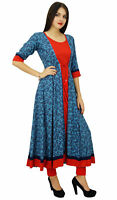 Bimba Womens Designer Flaired kurta Dress Indian Clothing Printed Rayon Kurti