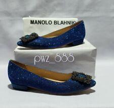 MANOLO BLAHNIK Hangisi Glittery Flats Size 35