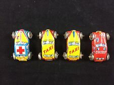 Vintage Baby Car Set Tiny Tin  - Japan - Fire - 2 Taxi's - Ambulance