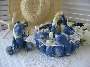 2pc SET! BASKET & TEDDY BEAR made w/ LAURA ASHLEY EMILIE Blue Floral fabric NEW