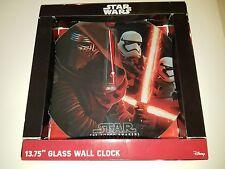 "Disney Star Wars 13.75"" Glass Wall Clock The Force Awakens NEW"