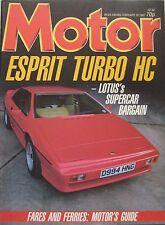 Motor magazine 28/2/1987 featuring Lotus Esprit road test, Ken Tyrrell, Rover