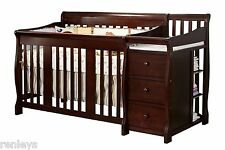 4 in 1 Side Convertible Crib Changer Nursery Furniture Baby Toddler Bed Espresso