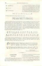 Partition de note de musique de la Grèce antique antiquité grec GRAVURE 1883