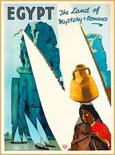 Egypt Land of Mystery Vintage Egyptian Travel Advertisement Art Poster Print
