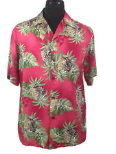 IOLANI Hawaiian Aloha Camp Shirt Mens Small New Pineapples Leaves Crackle  Red