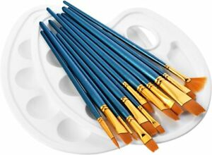 Set of 10 Artist Paint Brushes Professional Brush Wooden OIL ACRYLIC WATERCOLOUR