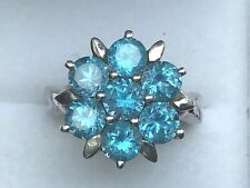 PREOWNED SILVER BLUE TOPAZ C.Z. CLUSTER RING, A REAL STUNNER .............