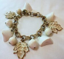 Vintage Charm Bracelet Lucite White Nuggets Gold Plated Tone Metal Enamel Leaves