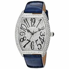 Christian Van Sant CV4821 Elegant 41MM Women's Crystal Set Blue Leather Watch