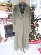 Jigsaw Ladies Longline Sage Green Wool Cashmere Blend Coat - Size 14