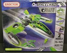 Erector Space Chaos Silver Force SpaceShip 2 Models 270 Parts  Light Effects NEW