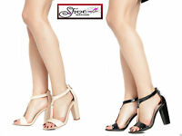 NEW WOMENS BLOCK HIGH HEEL ANKLE STRAP STRAPY SANDALS LADIES  PARTY SHOES UK3-8