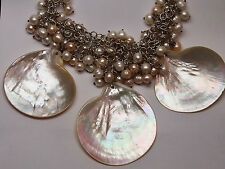 NATURAL PEARL NECKLACE with 925 STERLING SILVER CHAIN