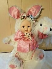 Anne Geddes Plush Furry Baby Bunny Rabbit Doll Rare 1999 Porcelain Face Jointed