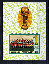 St VINCENT GRENADINES $1 MINIATURE SHEET FOOTBALL WORLD CUP 1986 MNH PORTUGAL