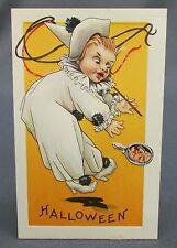Antique Halloween Postcard Clown White Costume Frightened Witch in Hand Mirror