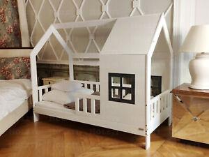 Hausbett mit Geländer, FARBE, Kinderhaus, Kinderbett, Holzbett, 7 Tage