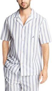 Nautica Men's Short Sleeve 100% Cotton Soft Woven Button Down Pajama Top, Large