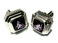 Natural Amethyst  Gemstone 925 Sterling Silver Cufflinks For Men's