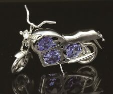 SILVER PLATED MOTORCYCLE FIGURINE/ORNAMENT STUDDED W/ SWAROVSKI CRYSTAL ELEMENTS