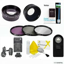 WIDE ANGLE LENS + ZOOM LENS FILTER KIT + EN-EL14A+ REMOTE FOR NIKON D3200 D3100