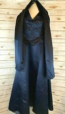 Donna Gray Gown Dress Formal Wear Navy Blue Size 16 Beaded 2pc Shawl