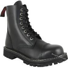 Angry Itch 8-Loch Schwarz Rangers Leder Stiefel Stahlkappen Schuhe Boots Black