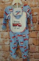 Mini Muffin Brave Lil' Guy Fire Truck Footed Sleeper W/ Bib  Size 3/6 Months