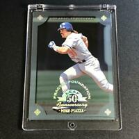 MIKE PIAZZA 1998 LEAF #92 FRACTAL FOUNDATION 50TH ANNIVERSARY PARALLEL #'D /3999
