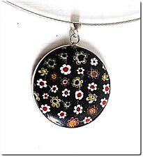 pendentif rond verre millefiori noir cable bijou mode LAMPWORK pendant collier