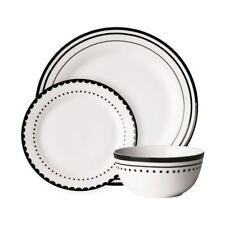 Avie Saturn Black White 12 PCE Dinner Set Plate Bowl Porcelain Contemporary