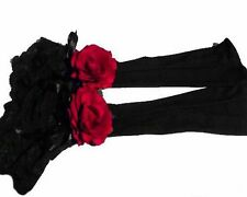 LONG LACE BLACK RED ROSE CUFFS VICTORIAN BURLESQUE GOTH EVENING GLOVES GAUNTLETS