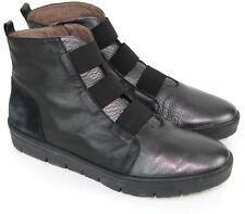 WONDERS  Spain Ankle Boots Wedge Platform Hi Top Black & Pewter Leather EU 39