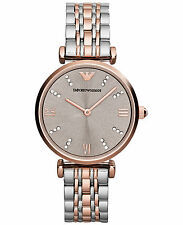 NEW EMPORIO ARMANI AR1840 LADIES TWO TONE  WATCH - 2 YEAR WARRANTY - CERTIFICATE