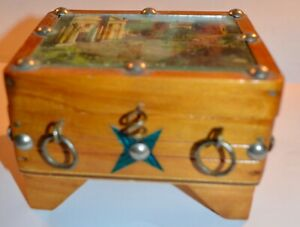 Vintage Wood Box with Picture, Rings & Lg Tacks