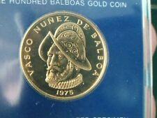 1975 Panama 100 Balboa UNC Gold Coin, Vasco Nunez de Balboa #5073