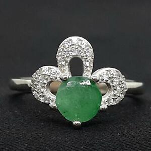 World Class 1.25ctw Colombian Emerald & Diamond Cut White Sapphire 925 Ring SZ 8