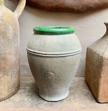 Chunky Urn Green Top, Glazed Ceramic Rustic Olive Jar Planter Plant Pot Vase